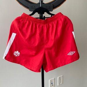 Umbro Red Soccer Canada White Stripe Shorts S